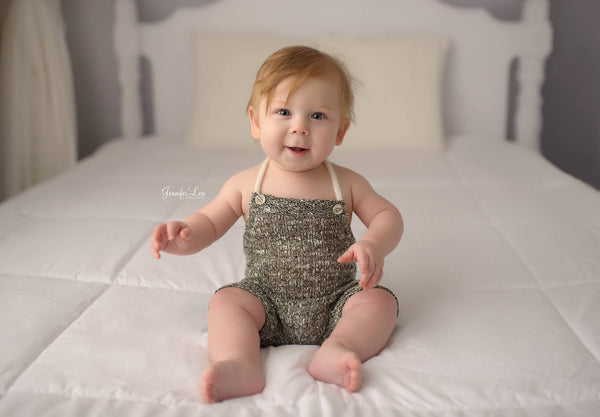 BABY ROMPER: 6M, 12M, dark green knit romper, baby stretch romper, baby photo prop, stretch knit fabric, handmade, photography prop, toddler