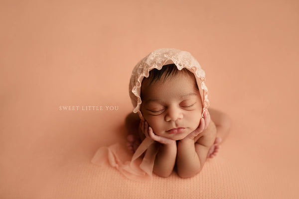 "NEWBORN BABY BONNET, headband, stretch peach lace wrap, 20"" x 72"", photo shoot, baby photography, newborn baby gift, embroidered tulle lace"