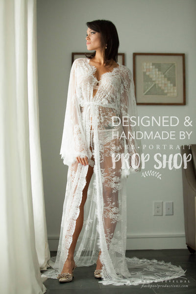 BRIDAL BOUDOIR ROBE with train, wedding day, gown for photo shoot, lingerie, off white eyelash lace, one-size, sheer long bell sleeve boho