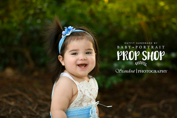 BABY ROMPER / SITTER: 6M, 12M baby stretch romper, toddler photo prop, blue, embroidered trim, handmade photo prop, baby photography prop