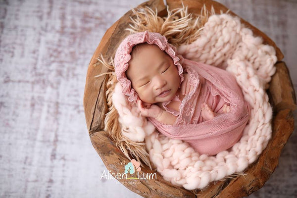 "NEWBORN BABY WRAP, lt. rose lace bonnet, vintage cotton wrap 13"" x 56"", baby bonnet, photo shoot, baby photography, newborn baby shower gift"