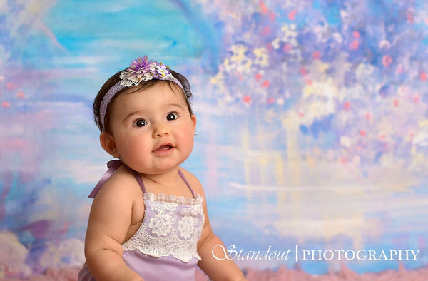 BABY ROMPER / SITTER: 6M, 12M baby stretch romper, toddler photo prop, lavender, embroidered trim, handmade photo prop, baby photography