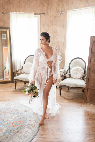 BRIDAL BOUDOIR ROBE - vintage embroidered tulle - wedding day gown for photo shoot - lingerie - off white - one-size - sheer- boho - train