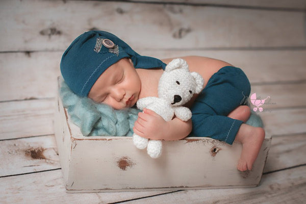 HANDMADE NEWBORN SHORT set, baby photo prop, stretch knit, blue, grey, baby hat, newborn prop photo, baby gift, teal, for photo shoot