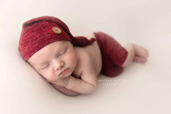 NEWBORN BABY SHORT / elf hat pant baby photo prop maroon set stretch knit Christmas baby hat newborn baby boy photo prop handmade baby gift