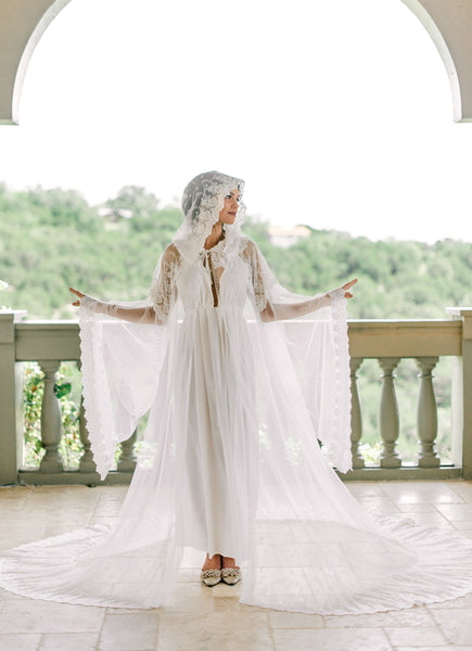 VINTAGE BRIDAL CAPE with hood for wedding day, boudoir photo shoot, over lingerie on your wedding night, style bridal cape bridal cloak