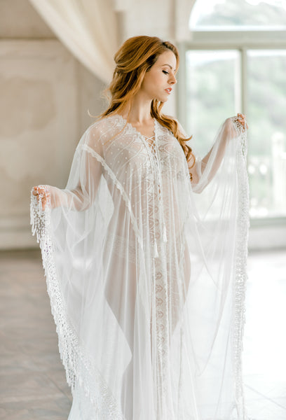 LACE BRIDAL CAFTAN for wedding day, kaftan lingerie boudoir photo shoot, lingerie on your wedding night, maternity photo shoot, boho caftan