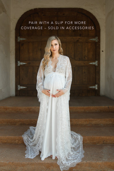 MATERNITY ROBE, eyelash lace gown for maternity photo shoot, wedding day robe, boudoir maternity photo shoot, maternity lingerie gift