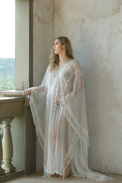 MATERNITY LACE CAFTAN for photo shoot, maternity robe, tassels lace maternity robe gown kaftan, maternity photography, off white caftan robe