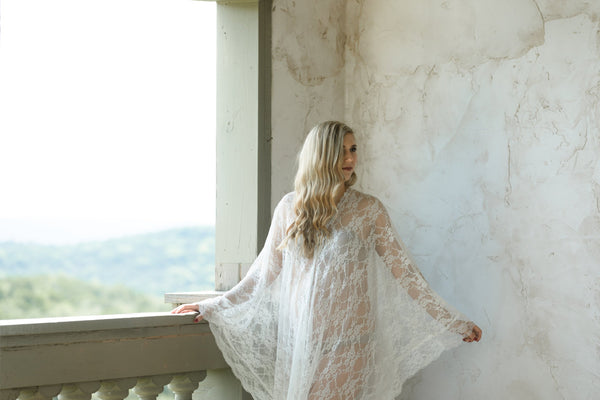 MATERNITY LACE CAFTAN for photo shoot, maternity robe, stretch lace maternity robe gown kaftan, maternity photography, off white caftan robe