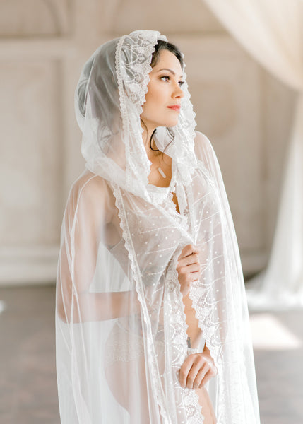 BRIDAL ROBE CAPE with hood, for wedding day, boudoir photo shoot, over lingerie on your wedding night, wedding cloak, satin wedding cape