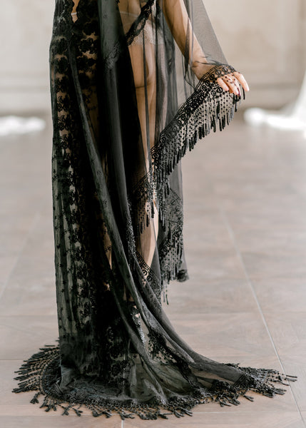 BLACK LACE CAFTAN for wedding day, boudoir photo shoot, over lingerie on your wedding night, for a maternity photo shoot, honeymoon ligerie