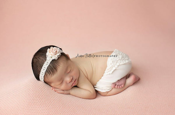 NEWBORN BABY SHORTS: headband, off white vintage lace cotton wrap, handmade baby bonnet, newborn photography prop, newborn baby shower gift