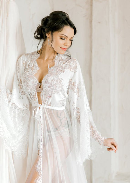 LACE BRIDAL ROBE for wedding day, bridal boudoir photo shoot, wedding night lingerie, maternity photo shoot, honeymoon lingerie, bridal gift