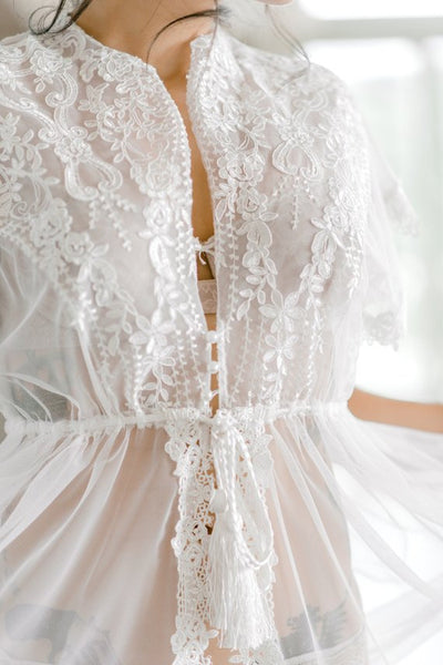 LACE APPLIQUE BRIDAL robe for wedding day, boudoir photo shoot, wedding night lingerie maternity photo shoot, honeymoon lingerie bridal gift