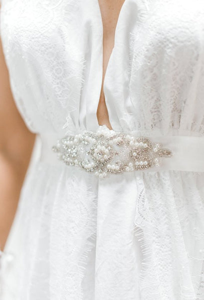 RHINESTONE SASH BELT pearls satin ribbon, wedding dress accent, wedding belt, rhinestone beaded bridal belt, bridal accessories, bridal gift
