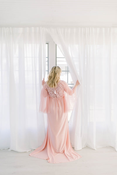 BEADED MATERNITY ROBE for maternity photo shoot, Rose pink knit maternity gown, maternity photography, photo shoot, lingerie, baby shower