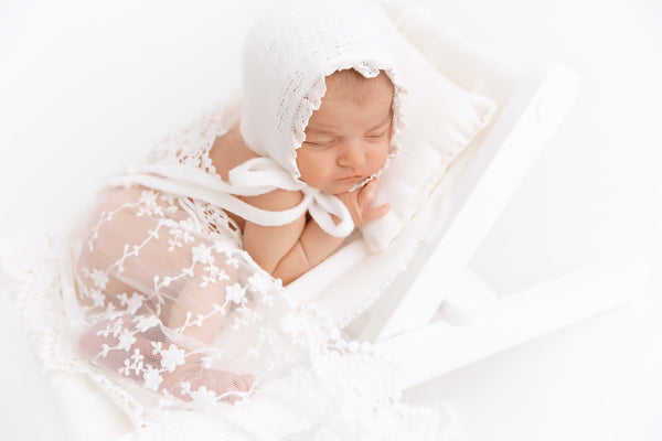 RTS NEWBORN WRAP & Bonnet: Ready to ship off white vintage lace cotton wrap handmade baby bonnet newborn photography prop, baby shower gift