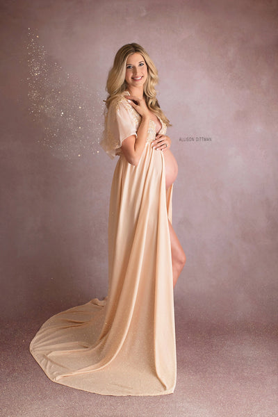 BEADED MATERNITY ROBE for maternity photo shoot, Light peach maternity gown, maternity photography, maternity lingerie for shoot, pregnancy