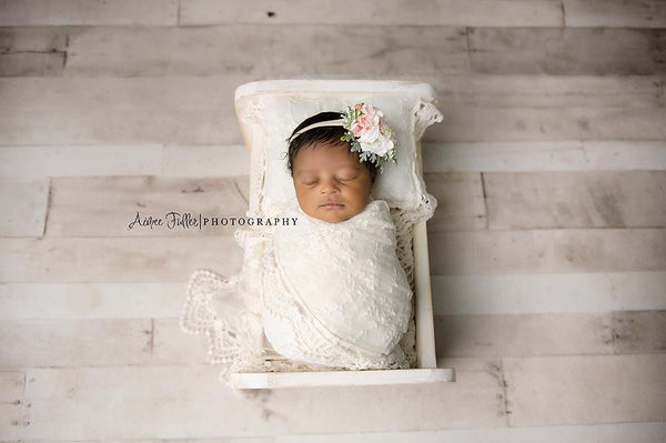 NEWBORN WRAP & BONNET: posing pillow, off white vintage lace cotton wrap handmade baby bonnet newborn photography prop, baby shower gift