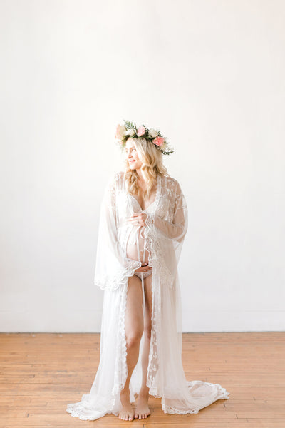 MATERNITY ROBE FOR photo shoot, off white maternity gown for boudoir photo shoot, lingerie maternity photo shoot, reversible maternity robe