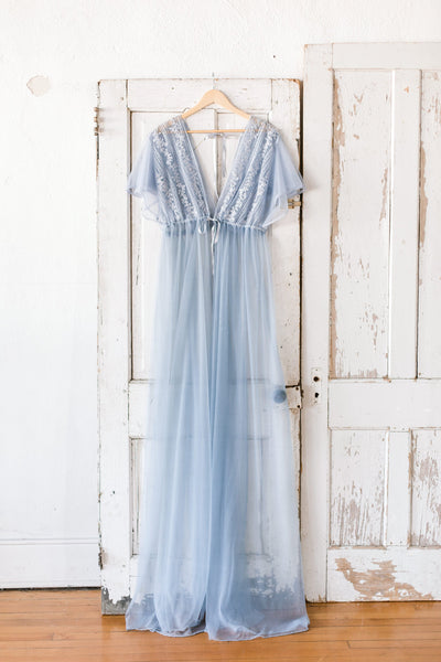 BEADED MATERNITY ROBE for maternity photo shoot, boudoir photo shoot, maternity lingerie, dusty blue beaded maternity gown for photography