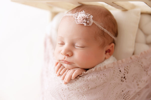 NEWBORN WRAP & BONNET: tieback, light mauve vintage knit lace wrap handmade baby bonnet newborn photography prop, baby shower gift