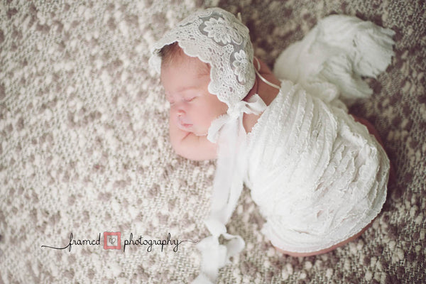 BONNET WRAP SET, vintage lace bonnet, ruffle wrap, ivory, newborn, stretch lace,  handmade, newborn baby photo prop,  photography prop, baby