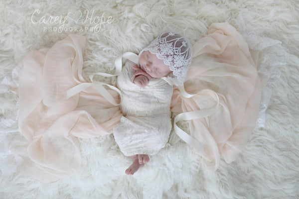 LACE BABY BONNET, vintage lace, off white, newborn, lace,  satin ribbon tie,  handmade, newborn baby photo prop,  photography prop, baby