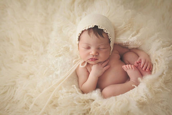 NEWBORN BABY BONNET, knit baby bonnet, ivory, brown, newborn, ivory trim, handmade, baby photo prop,  photography prop, baby photo prop