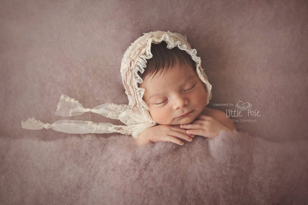 NEWBORN BABY BONNET, vintage baby bonnet, ivory lace, dusty pink, newborn, handmade, baby photo prop,  photography prop, baby photo prop