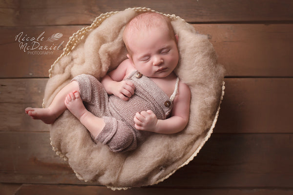 BABY ROMPER NEWBORN: photo prop, brown stretch fabric, handmade, photography