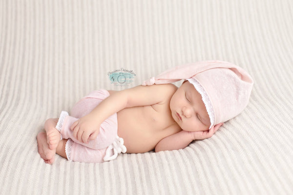 BABY PANT SET: hat pant set, lt. pink, newborn baby set, newborn stretch knit pants, baby photo prop, for baby photo shoot, photography gift