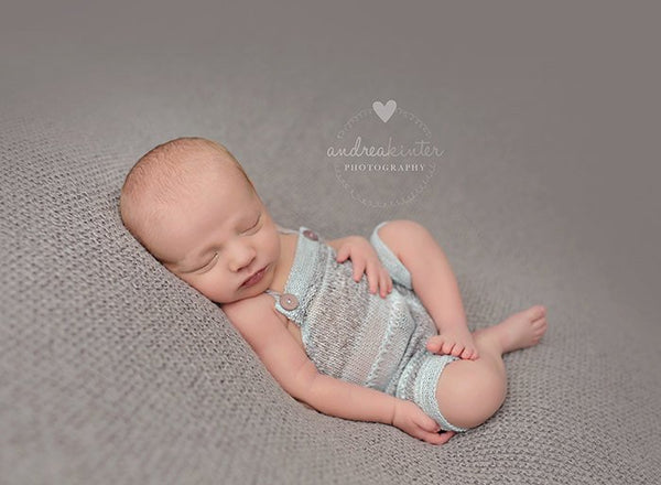 NEWBORN BABY ROMPER: aqua, grey stretch knit romper, baby romper, newborn photo prop, striped knit fabric, handmade, photography prop
