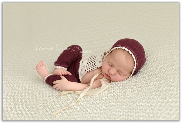 NEWBORN ROMPER / BONNET / pant, tieback, marooon, sweater knit burgundy pant, vintage crocheted trim, romper, baby photography, photo prop,