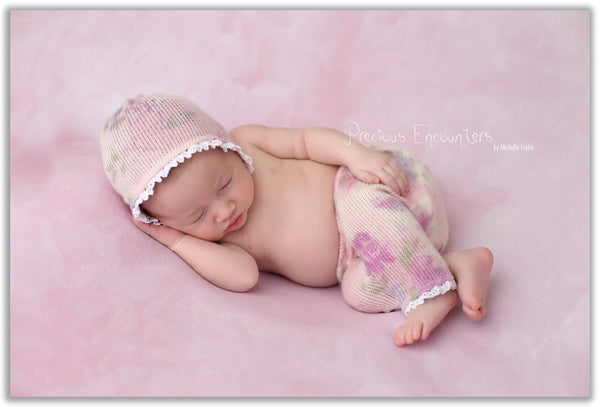 NEWBORN ROMPER / BONNET / baby pant, tieback, pastel floral sweater knit pant, vintage crocheted trim, romper, baby photography, photo prop,