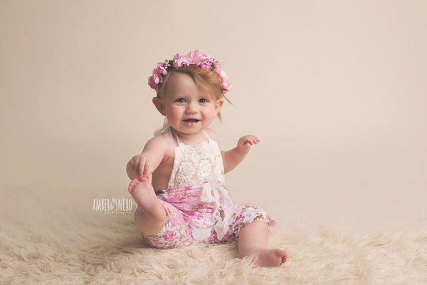 ROMPER/HEADBAND / HALO: Sitter set, 6 month, 12 month, pink floral ruffle fabric, embroidered cotton lace trim, baby photography, photo prop