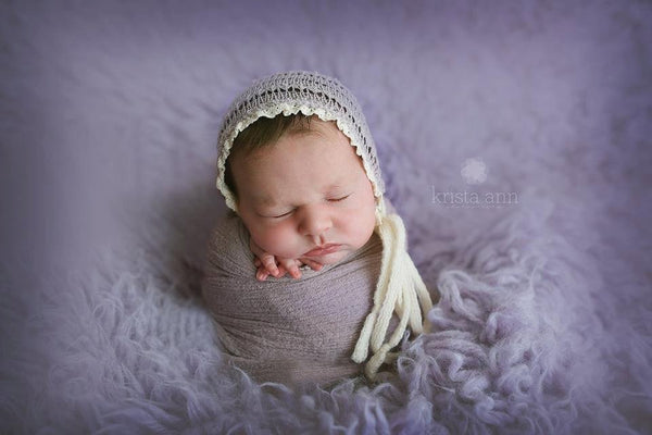 NEWBORN BABY BONNET: dusty lilac sweater knit baby bonnet, ivory crocheted trim, newborn bonnet, baby bonnet newborn photography, photo prop