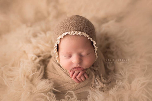 NEWBORN BABY BONNET, knit baby bonnet, ivory, brown, gray, newborn, lace trim, handmade, baby photo prop,  photography prop, baby photo prop