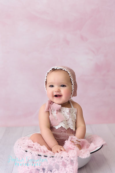 ROMPER / BONNET / TIEBACK set: mauve pink stretch knit Sitter set, 6 month, 12 month, embroidered trim fabric, baby photography, photo prop