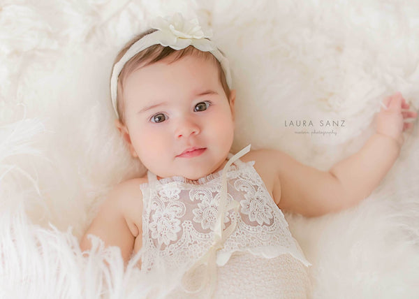 BABY ROMPER / HEADBAND: 6 month sitter set, 12 month sitter set, cream knit, embriodered lace, headband, romper, photography, photo prop
