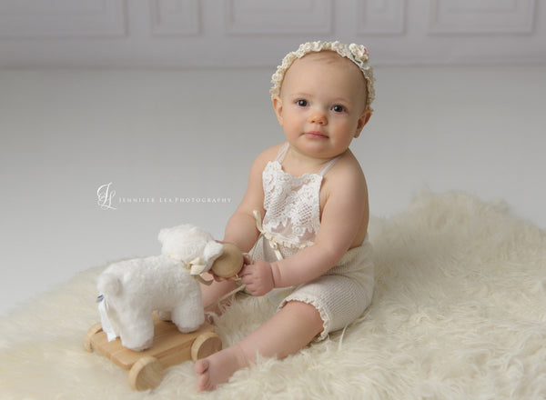 BABY ROMPER / HEADBAND / bonnet: 6 month sitter set, 12 month sitter set, ivory knit, embriodered lace, headband, romper, photography prop