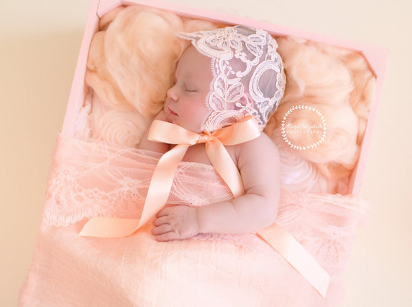 LACE BABY BONNET, peach lace newborn bonnet, handmade, peach lace wrap, newborn baby photo prop,  photography prop, baby photography
