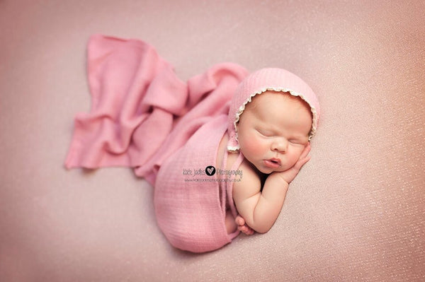 NEWBORN BABY BONNET, brown, rose pink knit bonnet, pink wrap, newborn baby set, ivory trim, handmade, baby photo prop,  photography prop