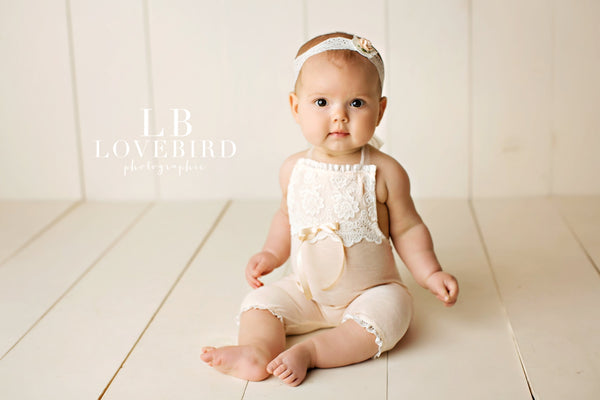 NEWBORN, 6M, 12M SITTER SET baby stretch romper, toddler photo prop, lt. peach, lace trim, handmade photo prop, baby photography, lace bib