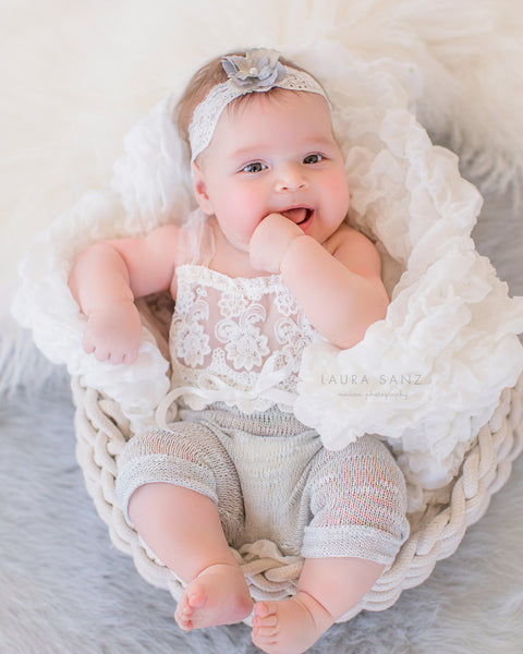 BABY ROMPER / HEADBAND: 6 month sitter set, 12 M sitter set, dusty blue grey, embriodered lace, headband, romper, photography, photo prop