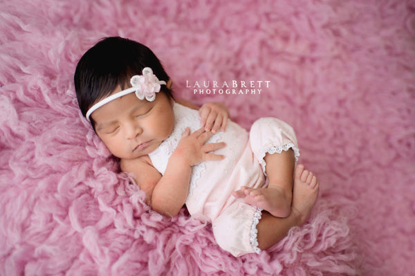 NB BABY ROMPER: light pink, knit, newborn, stretchy, headband, prop, for photo shoot, handmade, photography, shower gift, boutique