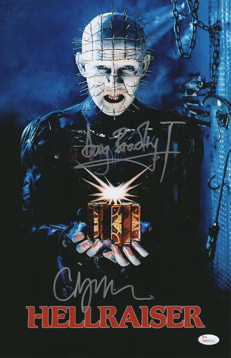 Clive Barker and Doug Bradley Signed 11x17 Picture Hellraiser Autograph Photo JSA COA 3