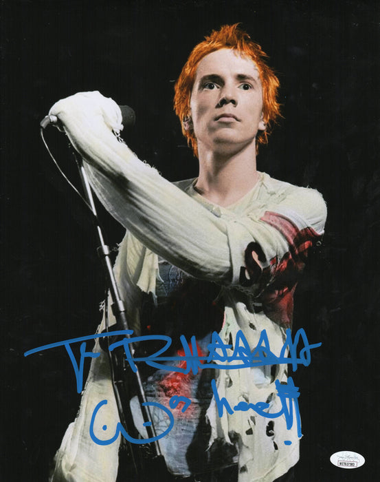 Johnny Rotten Autograph 11x14 Photo Sex Pistols Signed JSA COA Witness 3