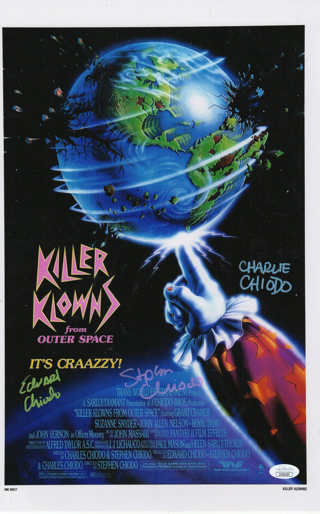 The Chiodo Brothers Autograph 11x17 Photo Killer Klowns of Outer Space JSA COA